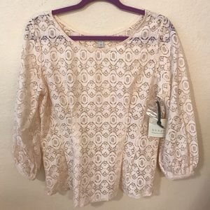 NWT Hinge cream lace long sleeve Peplum fit blouse